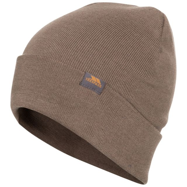 Stines Adults' Beanie Hat in Khaki, Hat at angled view
