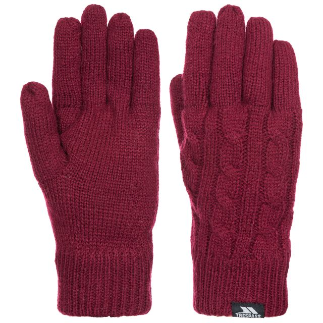 Sutella Women's Knitted Gloves in Burgundy