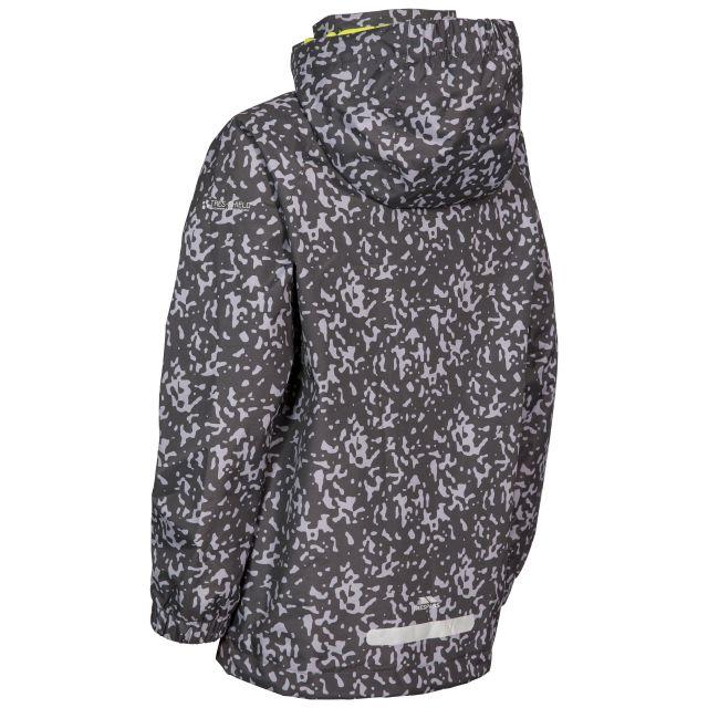 Trespass Boys Printed Waterproof Jacket in Grey Sweeper