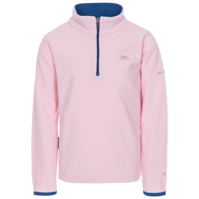 Sybil Kids' Half Zip Fleece in Light Pink