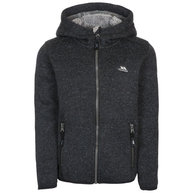 Trespass Kids Fleece Jacket with Hood 2 Pockets Tableypipe Black