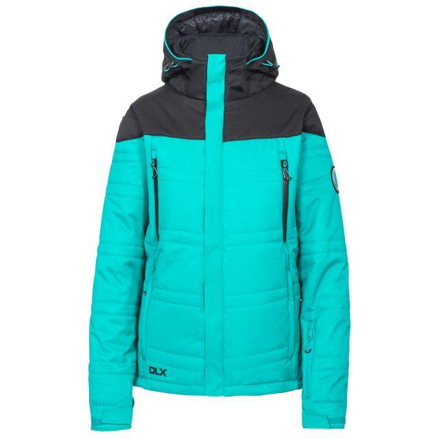 Thandie Women's DLX Waterproof Ski Jacket in Green, Front view on mannequin