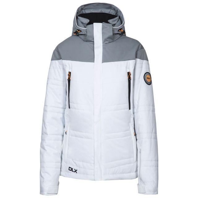 Thandie Women's DLX Waterproof Ski Jacket in White, Front view on mannequin