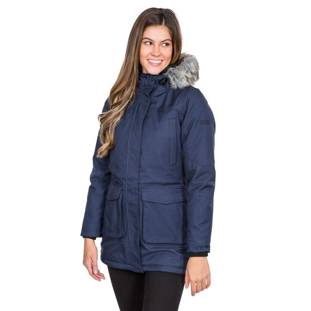Thundery Women's Waterproof Parka Jacket in Navy