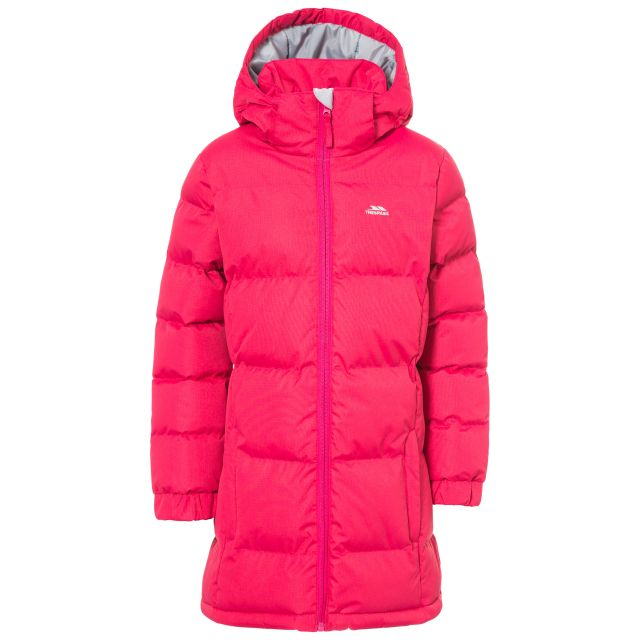 Tiffy Girls' Padded Casual Jacket in Pink, Front view on mannequin
