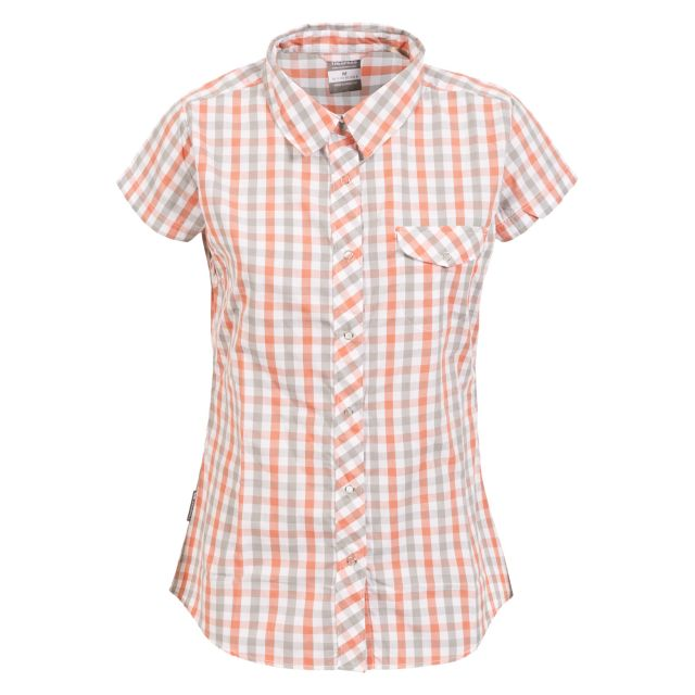 Tilley Women's Short Sleeve Checked Shirt in Light Pink
