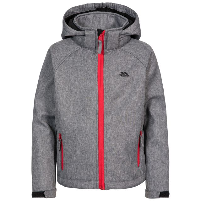 Tommaso Kids' Softshell Jacket in Grey, Front view on mannequin