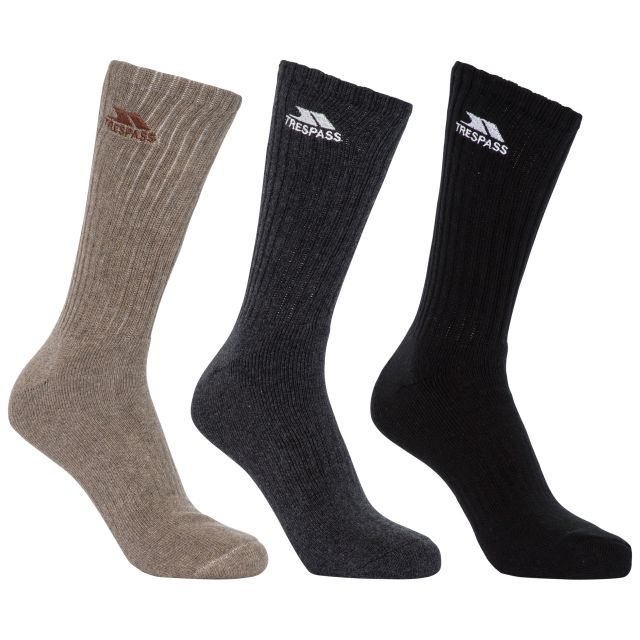 Torren Unisex Cushioned Walking Socks - 3 Pack in Assorted