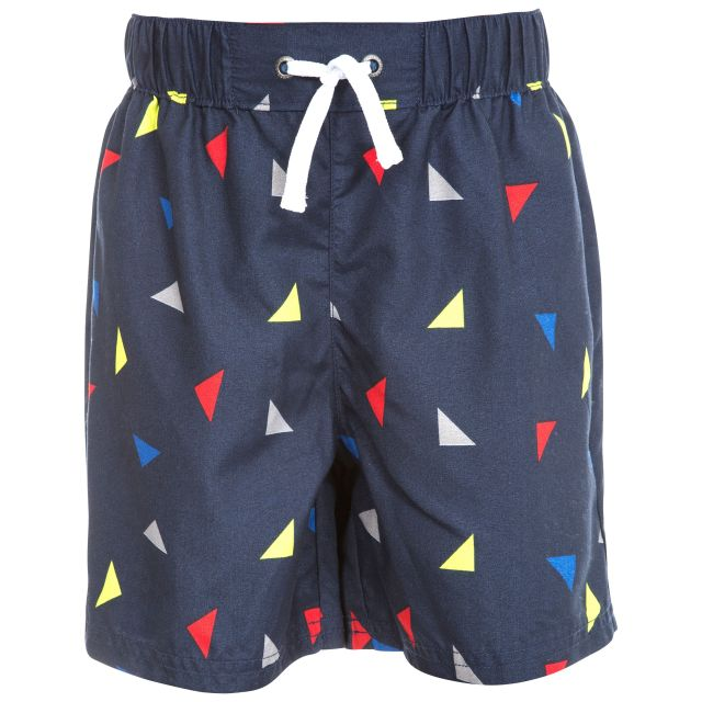 Triangle Kids' Durable Geometric Printed Shorts in Navy, Front view on mannequin