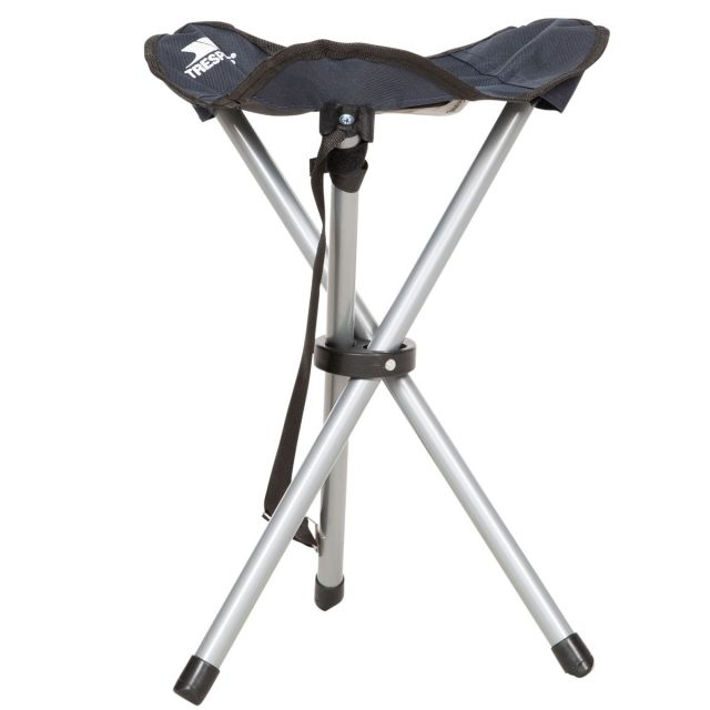 Trespass Fold Up Camping Stool with Carry Bag Tripod Navy