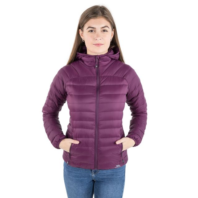 Trisha Women's Down Packaway Jacket in Burgundy