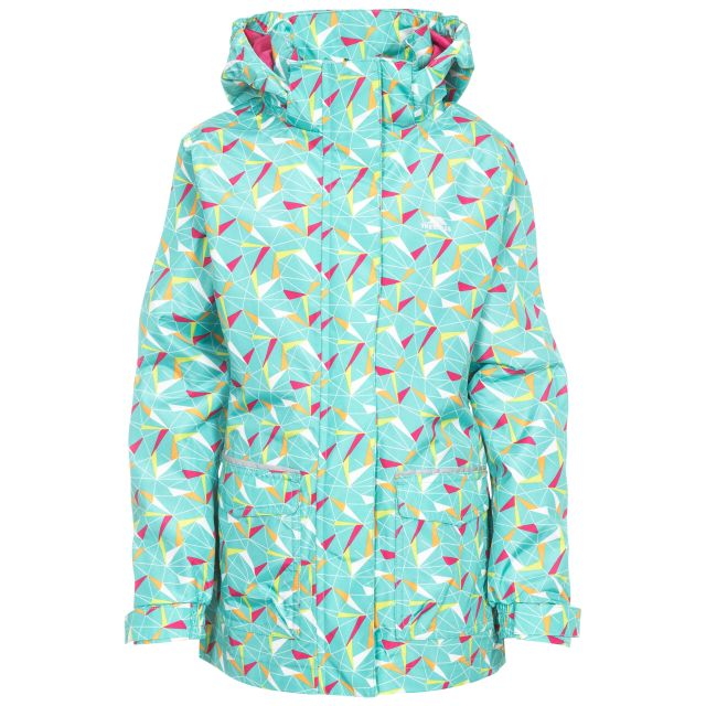 Twinkling Girls' Printed Waterproof Jacket in Light Blue