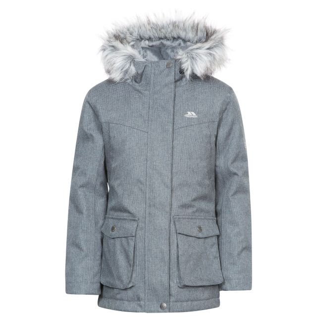 Vardia Girls' Waterproof Parka Jacket in Grey