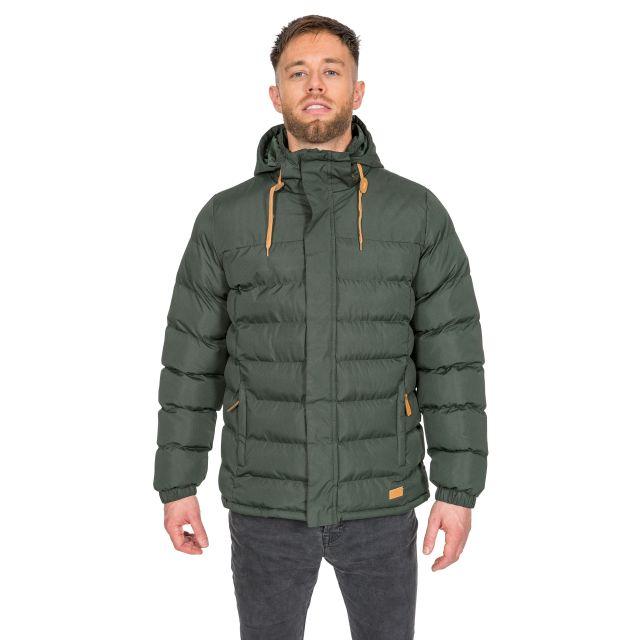 Westmorland Men's Hooded Padded Jacket in Khaki, Back view on model