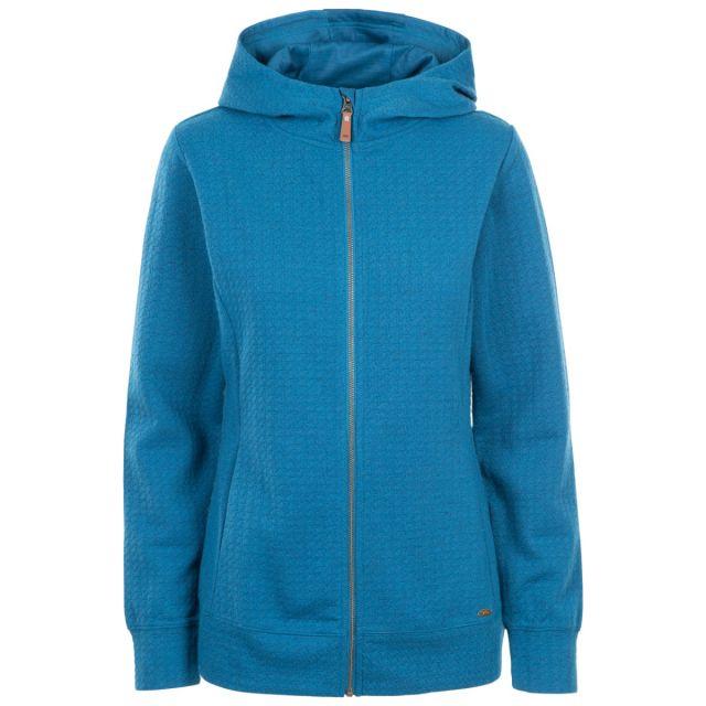 Trespass Women's Zip Up Hoodie Winnie Cosmic Blue, Front view on mannequin