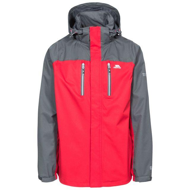 Wooster Men's Waterproof Jacket in Red, Front view on mannequin