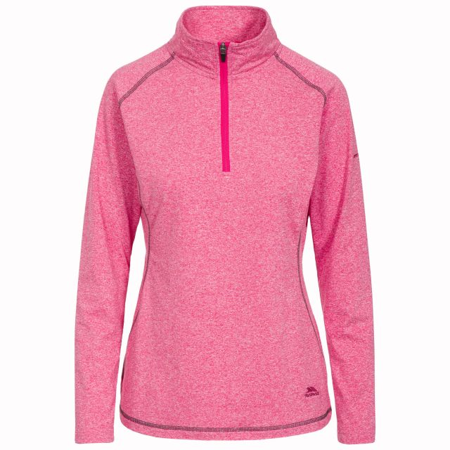 Zirma Women's 1/2 Zip Long Sleeve Active Top in Pink