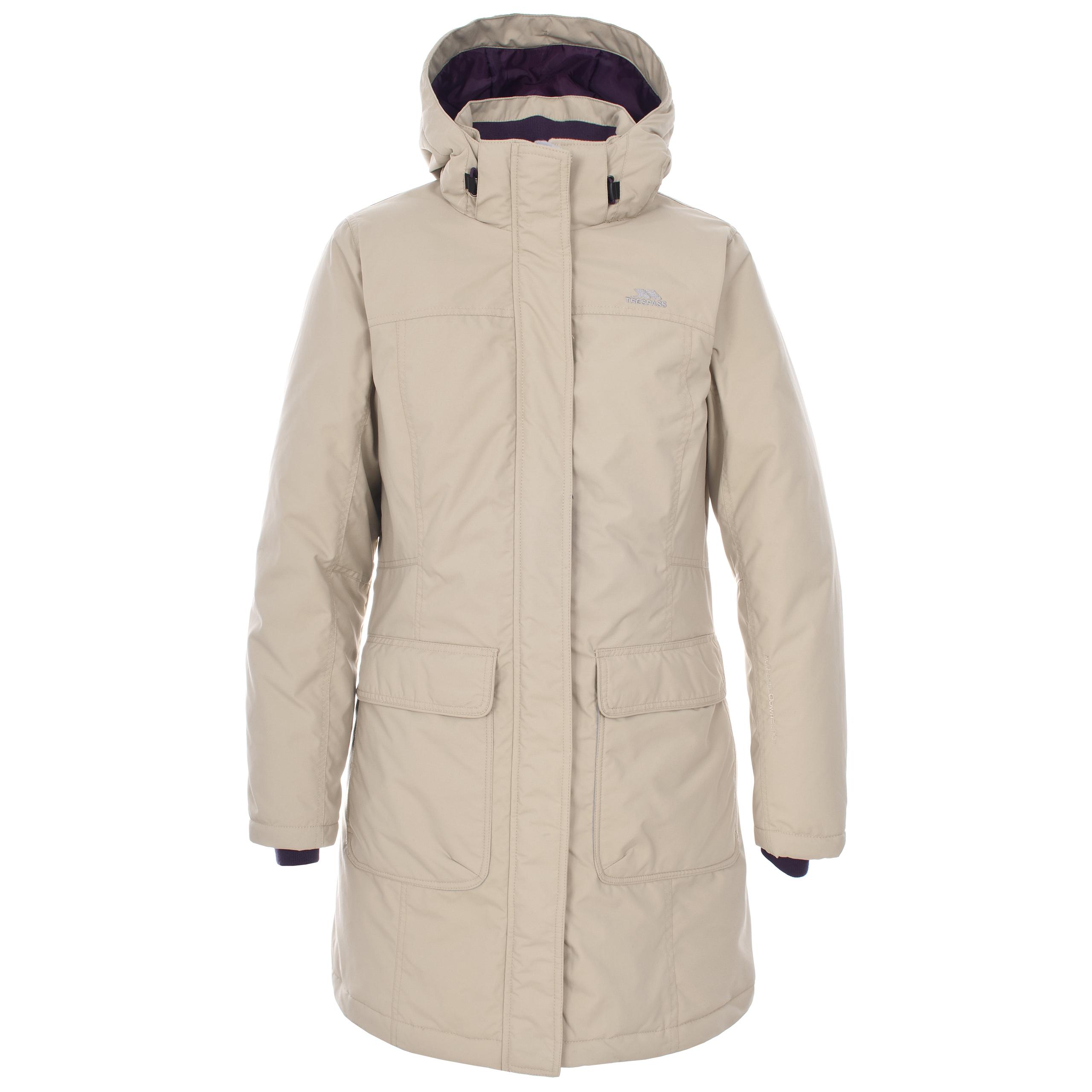 Trespass Enclosed Womens Longer Length Down Jacket Ladies Hooded ...