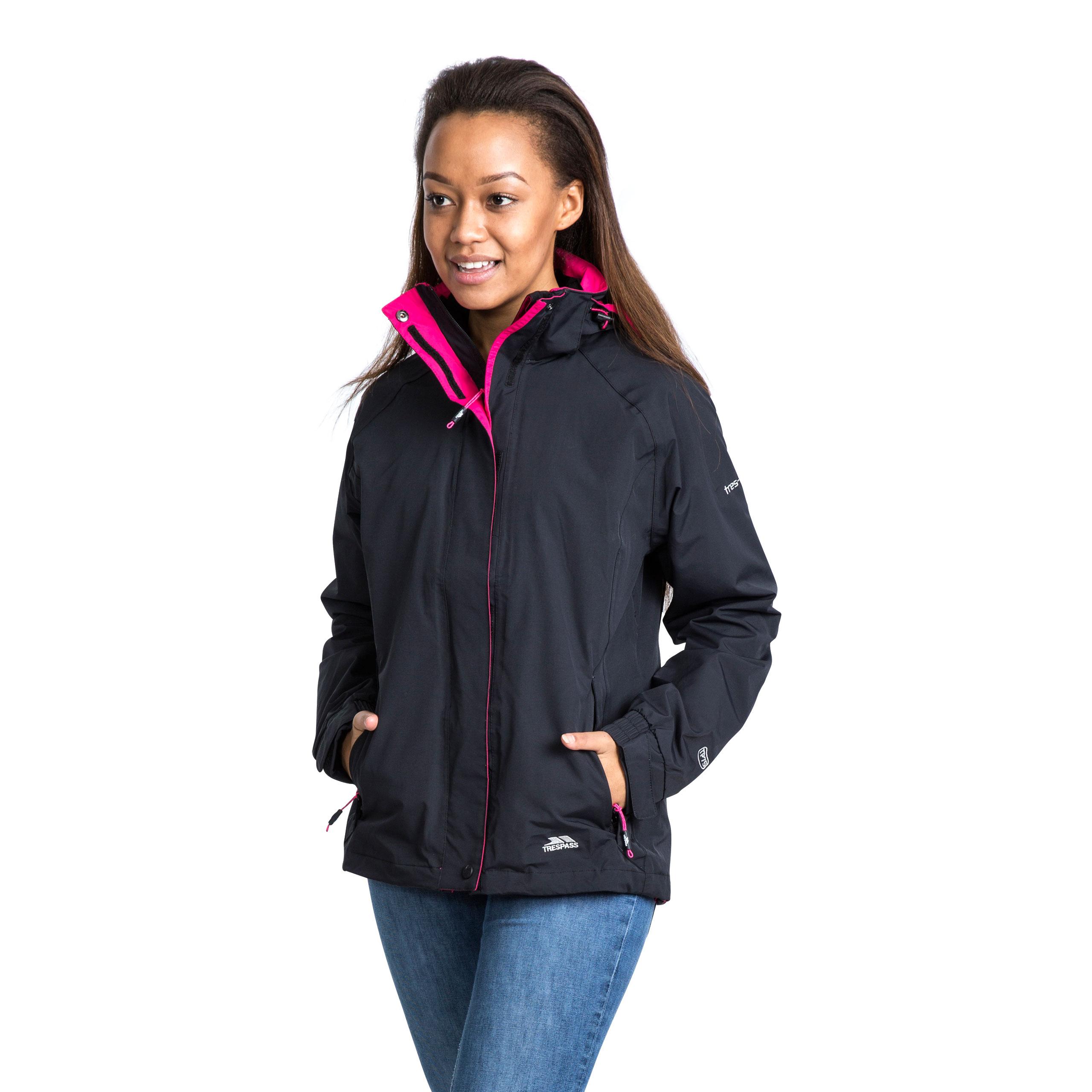 Trespass-Florissant-Womens-Waterproof-Jacket-Black-Navy-Rain-Coat-with-Hood miniatuur 15