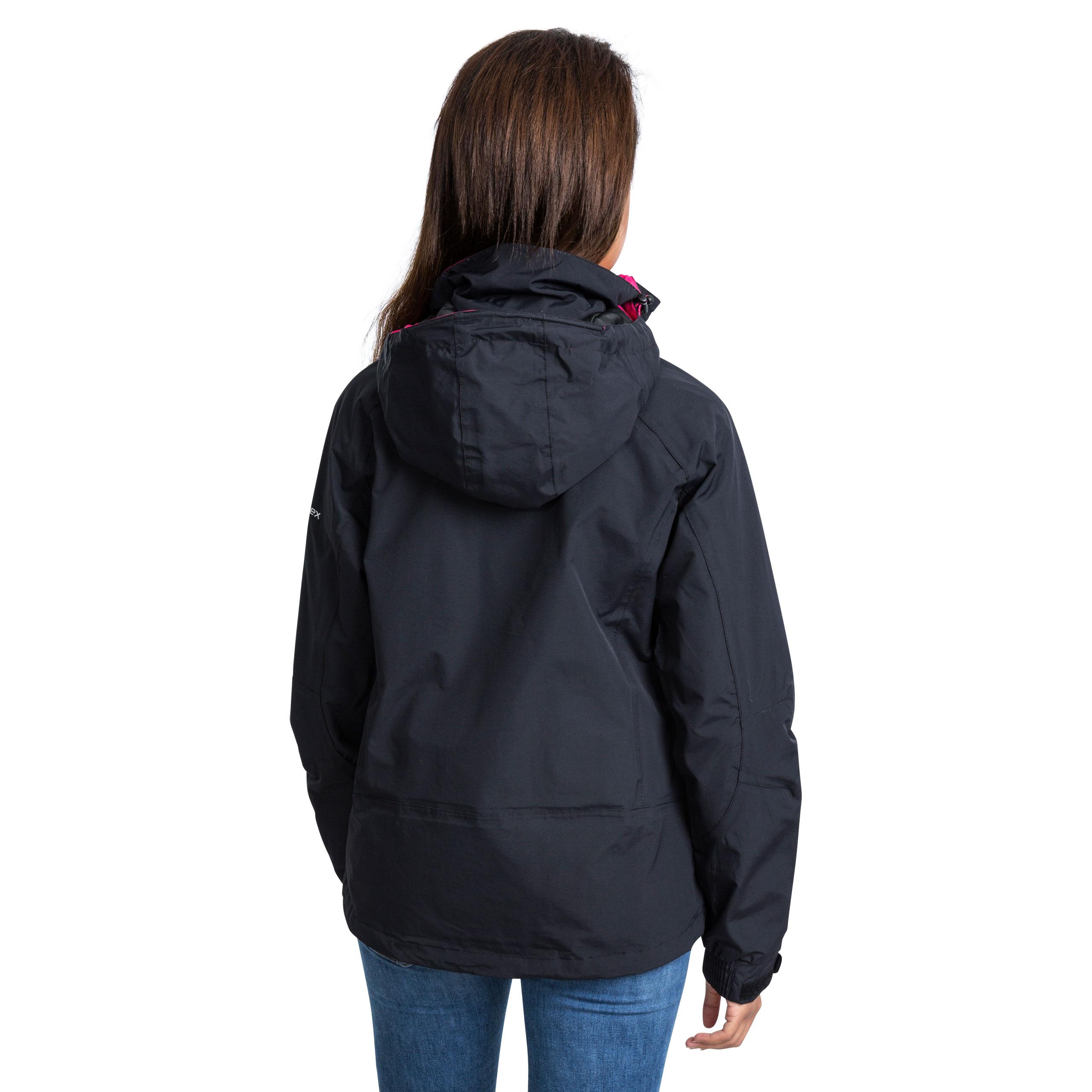 Trespass-Florissant-Womens-Waterproof-Jacket-Black-Navy-Rain-Coat-with-Hood miniatuur 16