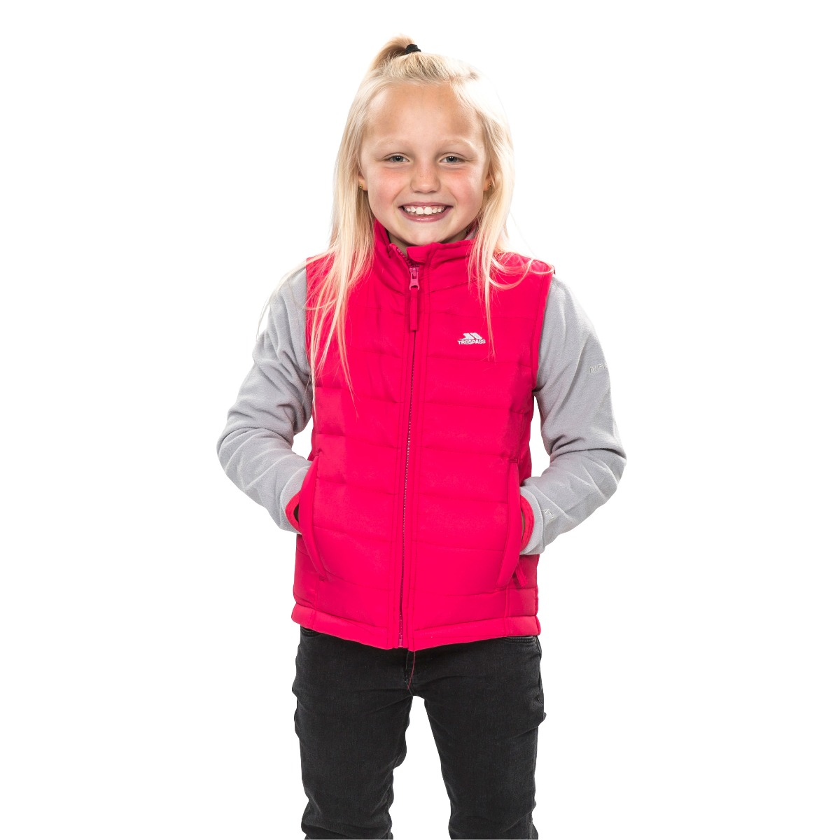 Trespass Jadda Boys Girls Padded Gilet Kids School Body Warmer in Pink /& Navy