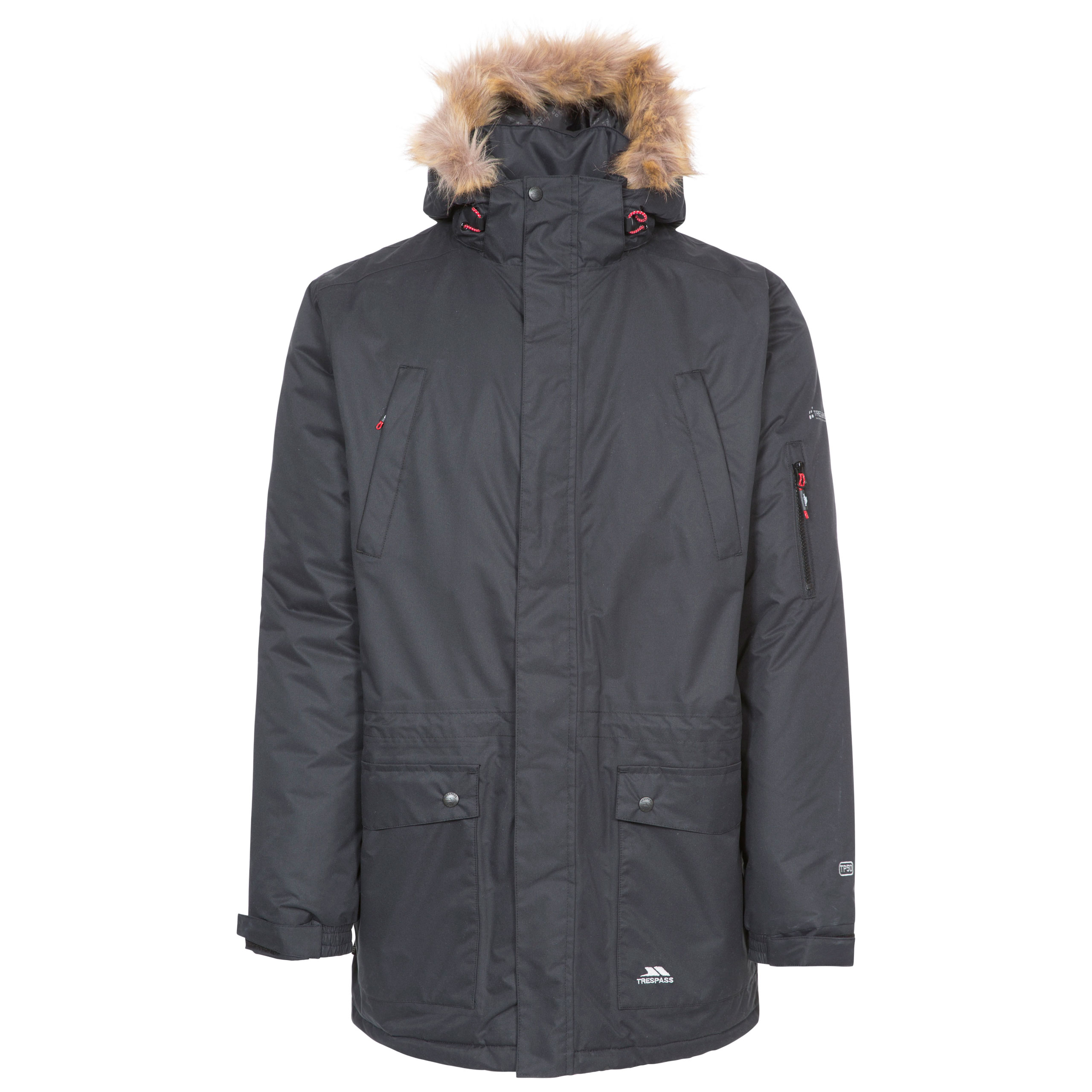 Trespass Jaydin Mens Waterproof Parka Jacket Fur Hooded Longer ...
