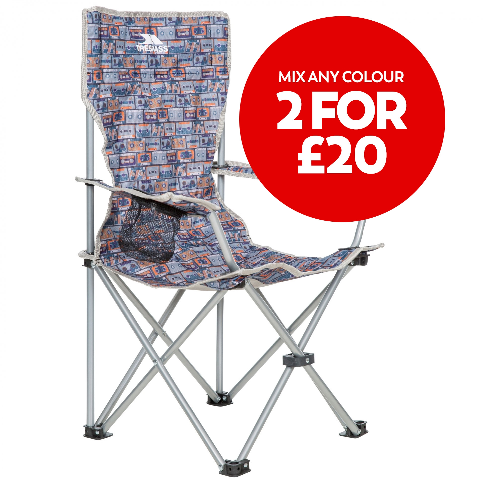 Joejoe Kids Folding Camp Chair In Navy Retro Tape