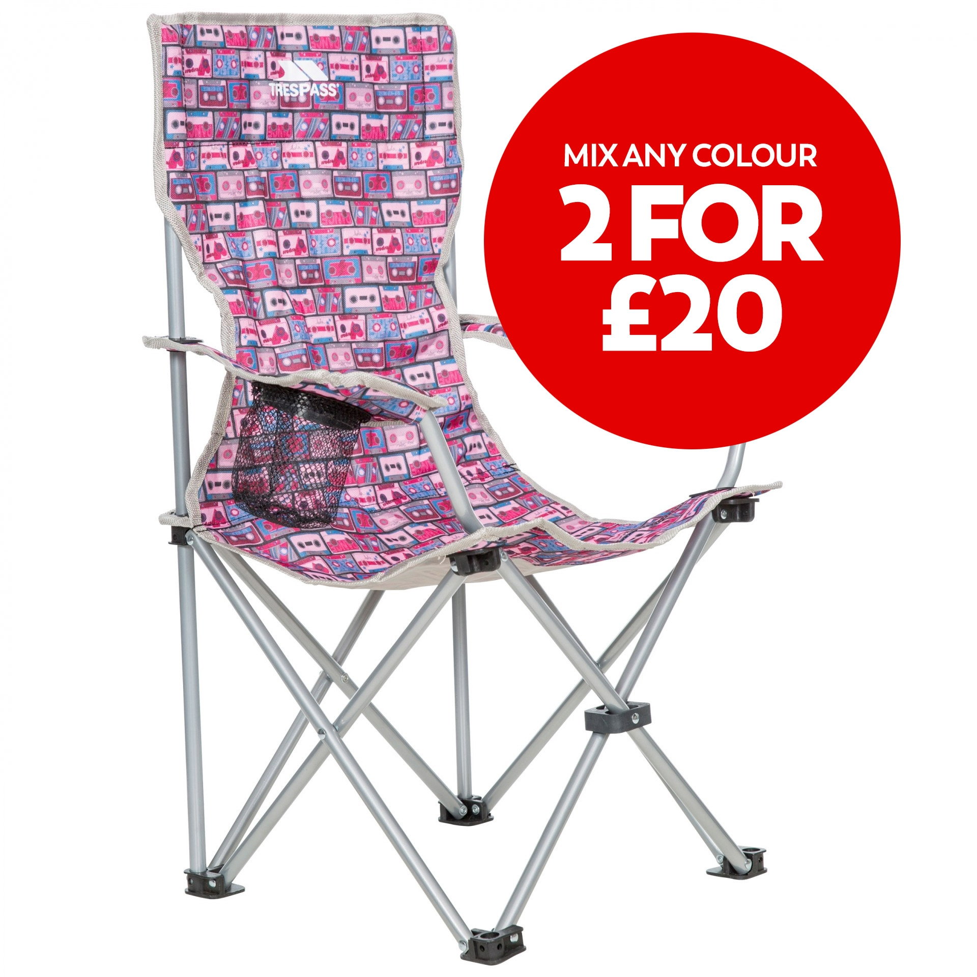 Joejoe Kids Folding Camp Chair In Pink Retro Tape