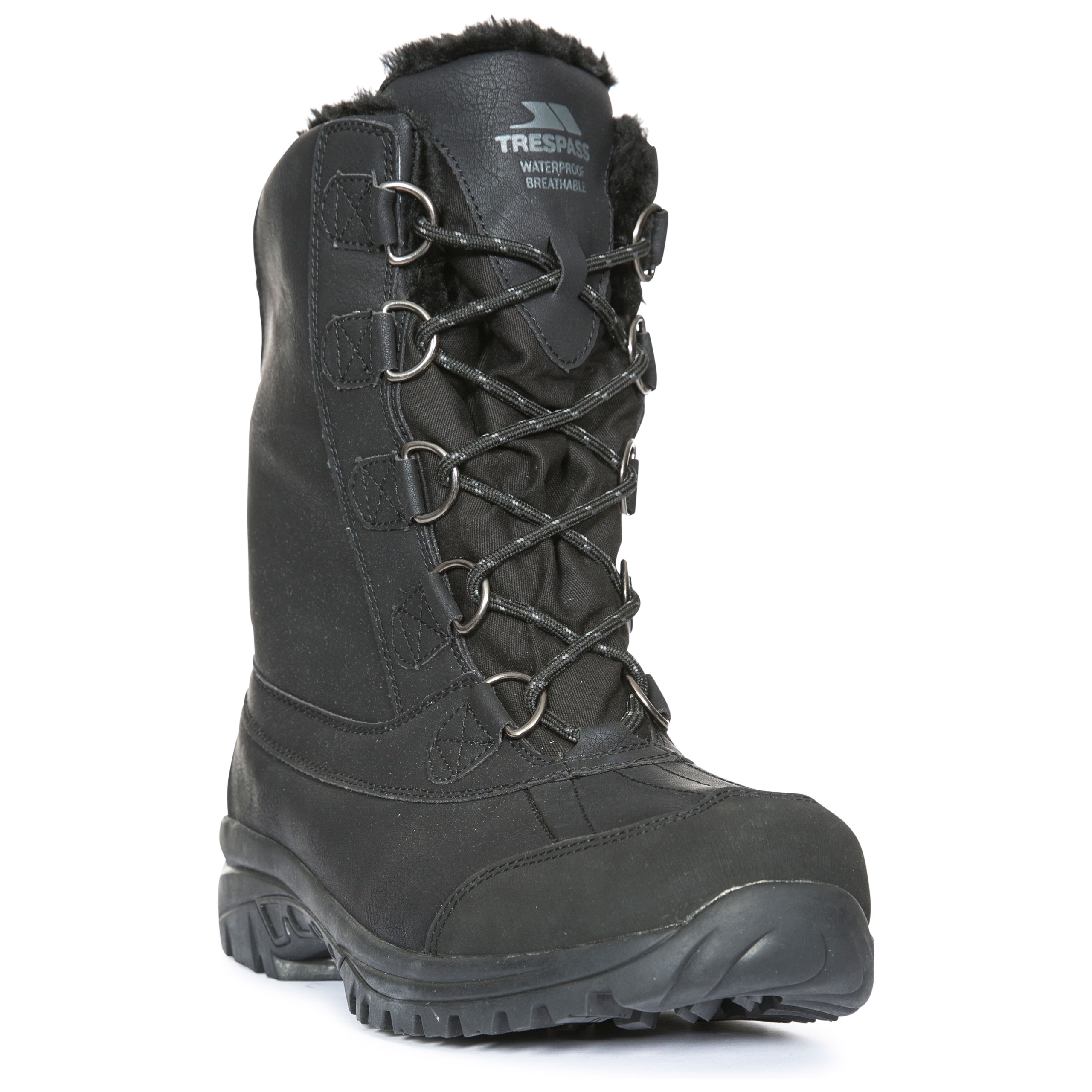 f651012f4e4 Details about Trespass Kareem Mens Waterproof Snow Boots in Black & Brown