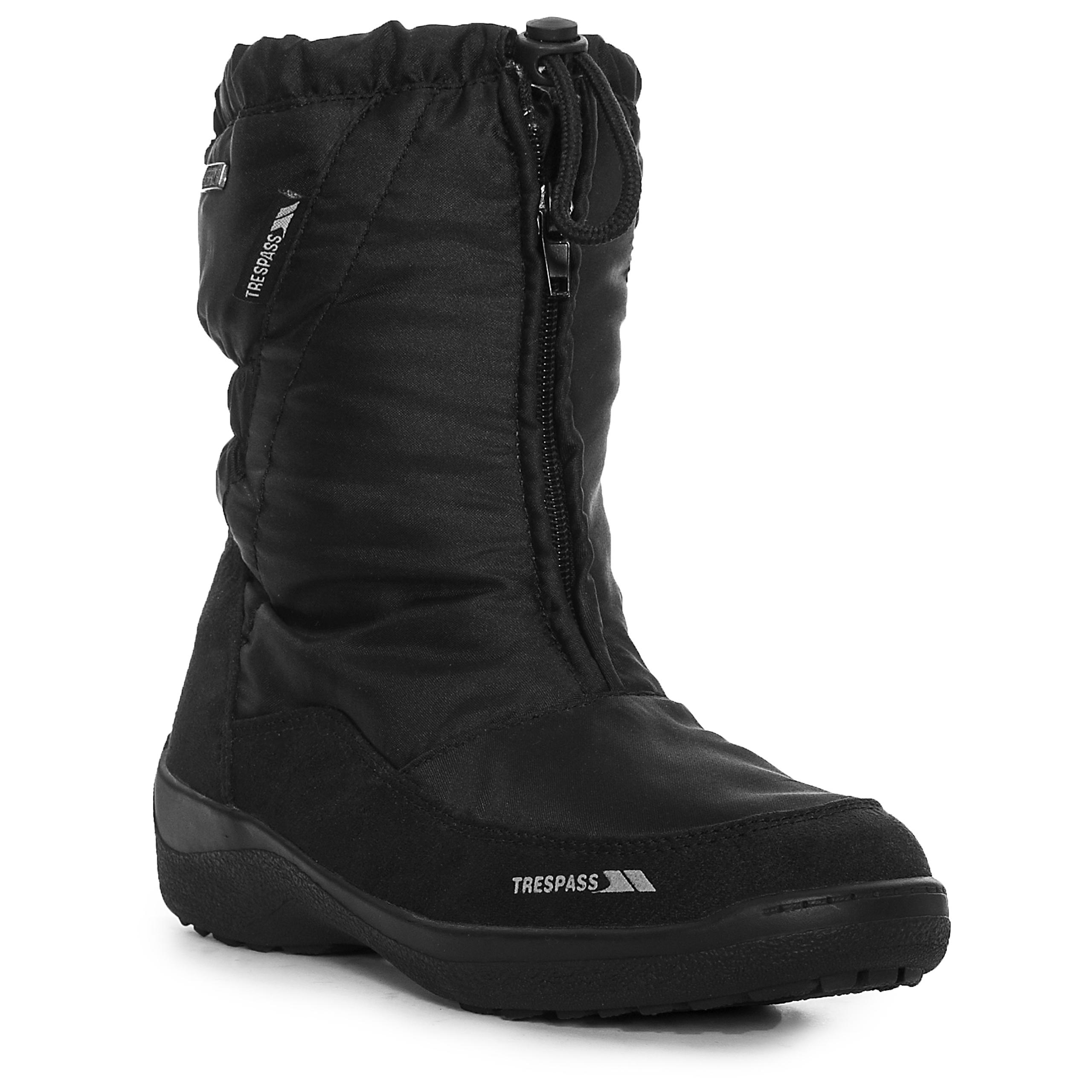 Model  Womens Black Waterproof Insulated Zip Up Winter Snow Boots  EBay