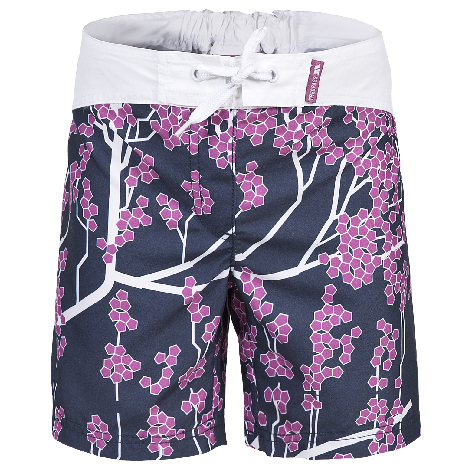 Trespass-Mabel-Girls-White-Shorts-Floral-Print-Summer-Clothes thumbnail 2