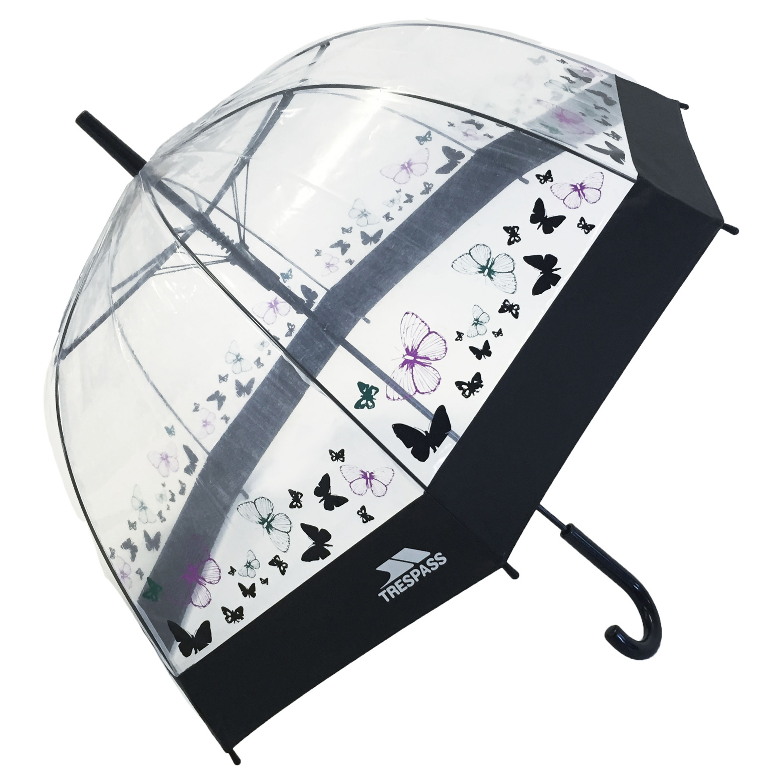 Trespass Papillon Ladies Transparent Butterfly Print Button Release Umbrella