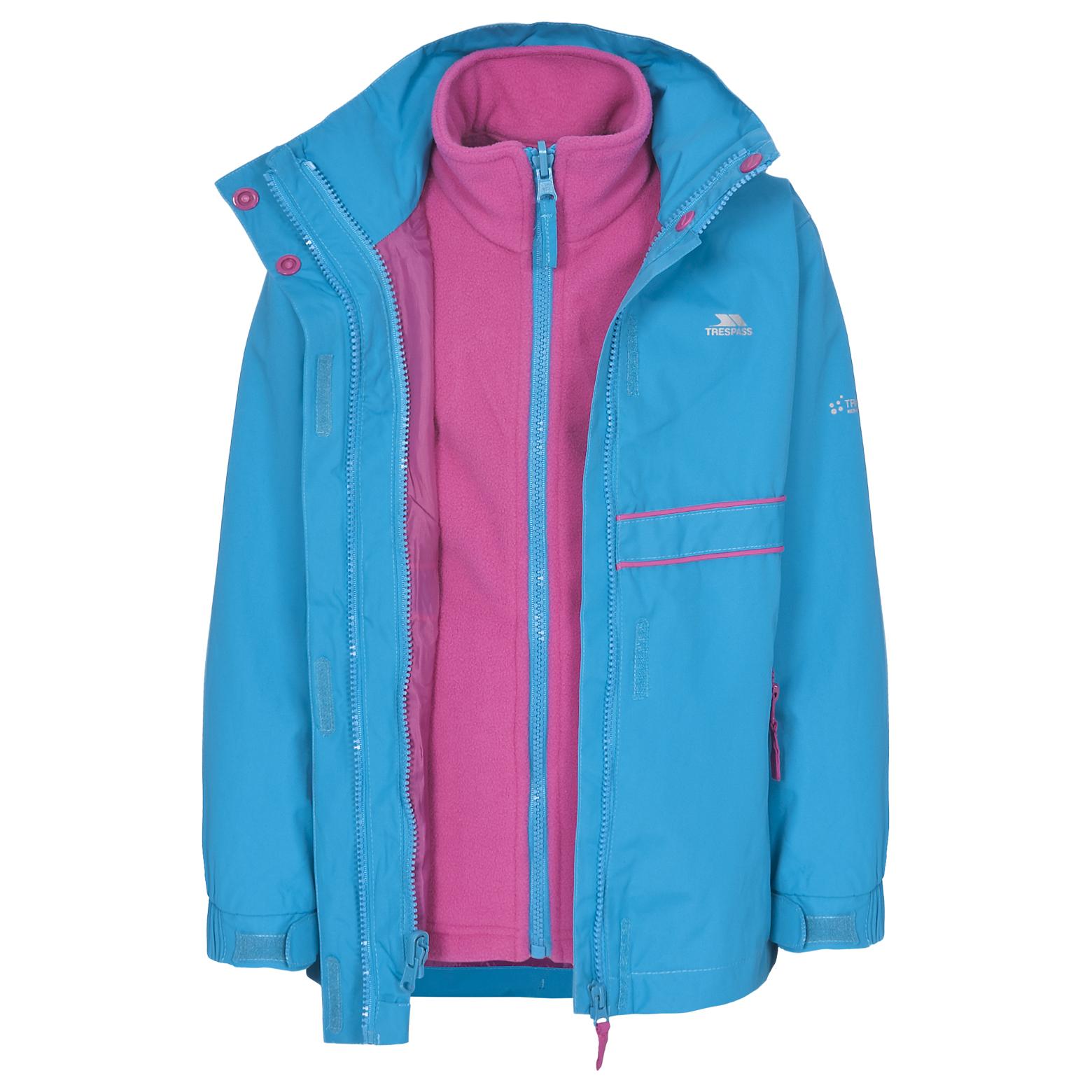 Trespass TIARA Girls 3 in 1 Hooded Waterproof Fleece School Rain ...