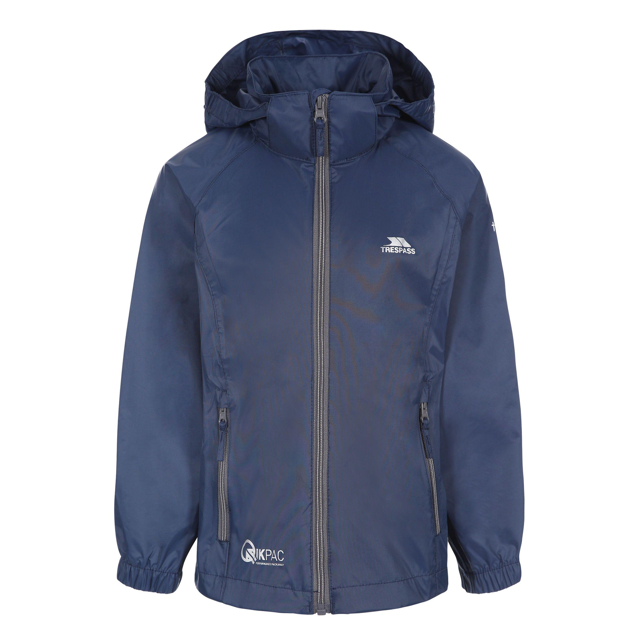 Trespass Kids Waterproof Packaway Jacket Zip Hood Qikpac X