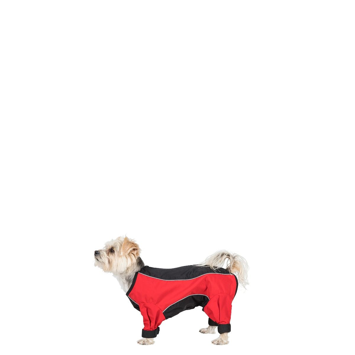 Trespaws Tia Dog Coat With Leg Covers Windproof Black Red