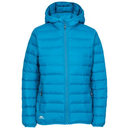 Trespass Womens Down Jacket with Hood Amma in Cosmic Blue, Front view on mannequin