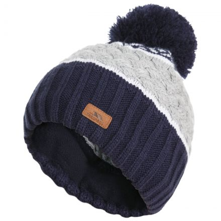 Kids' Knitted Bobble Hat in Navy