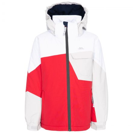 Trespass Kids Ski Jacket Waterproof Hood Padded Curious Red, Front view on mannequin