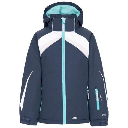 Trespass Kids Padded Ski Jacket Detachable Hood Distinct in Navy, Front view on mannequin