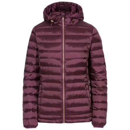 Trespass Womens Down Jacket Katheryn in Fig, Front view on mannequin