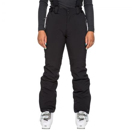 Trespass Women's Waterproof Salopettes Roseanne in Black, Front view on model