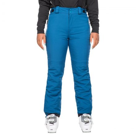 Trespass Women's Waterproof Salopettes Roseanne in Blue, Front view on model