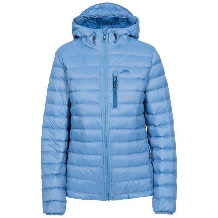 Arabel Women's Hooded Down Packaway Jacket in Blue