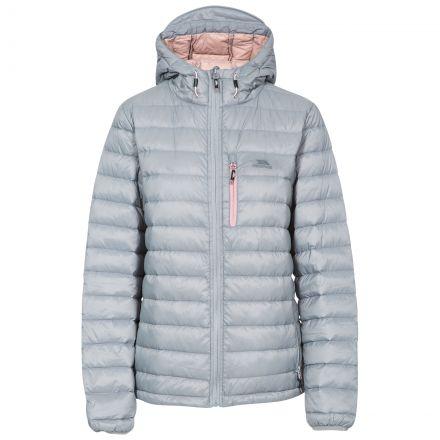 Arabel Women's Hooded Down Packaway Jacket in Grey