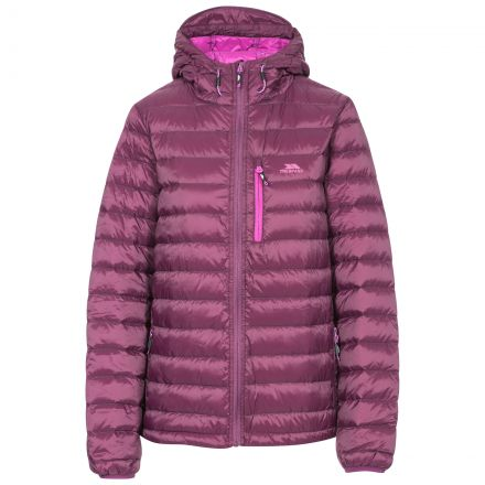 Arabel Women's Hooded Down Packaway Jacket in Purple, Front view on mannequin