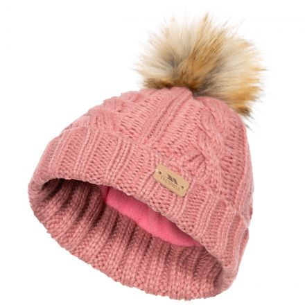Ashleigh Kids' Fleece Lined Bobble Hat in Pink, Hat at angled view