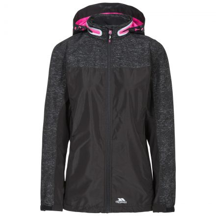 Trespass Womens Waterproof Jacket Breathable Attraction Black, Front view on mannequin