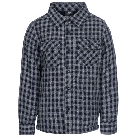 Average Kids' Checked Cotton Shirt in Navy, Front view on mannequin