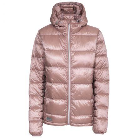 Trespass Womens Down Jacket with Hood Bernadette Pink, Front view on mannequin
