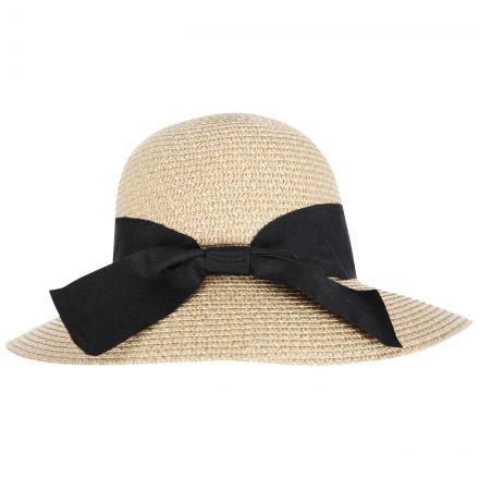 Brimming Women's Straw Hat in Beige, Logo detail